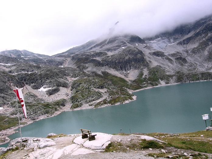 Foto: Andreas Koller / Wander Tour / Kombinierte Tour auf die Granatspitze (3086 m) / Blick von der Rudolfshütte auf den Weißsee / 17.08.2007 13:05:30