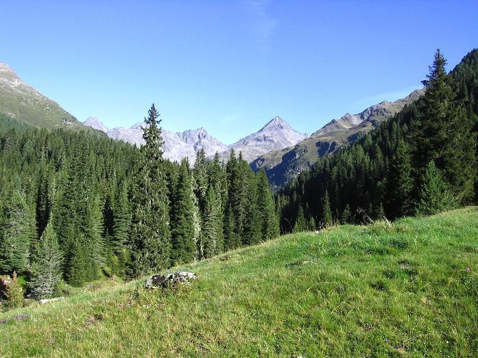 Foto: Andreas Koller / Wander Tour / Von Osttirol nach Kärnten auf den Kruckelkopf (3181 m)  / Der Talschluss des Debanttales mit Hochschober (3242 m, ganz links) und Glödis (3206 m, Mitte) / 18.08.2007 13:25:41