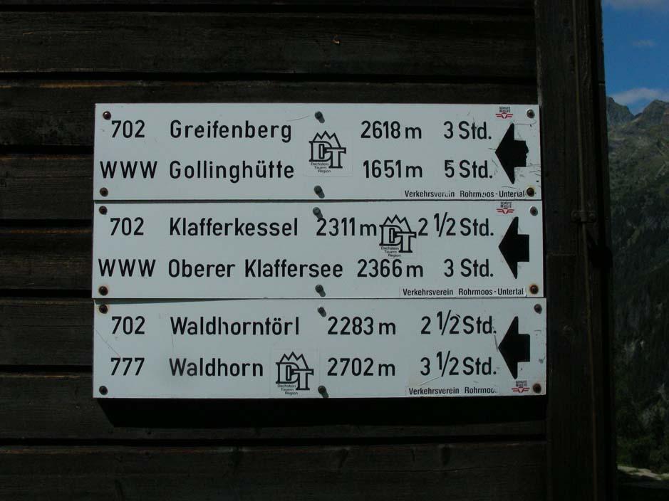 Foto: EvaNussmueller / Wander Tour / Planai - Preintalerhütte - Klafferkessel - Riesachfälle / Wegweiser Preintalerhütte / 27.08.2007 23:00:46