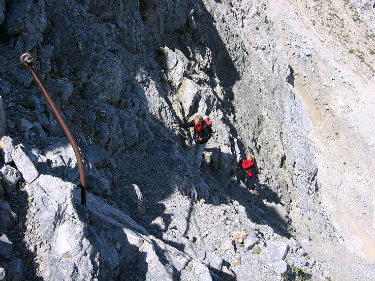 Foto: Andreas Koller / Klettersteig Tour / Karwendel- und Mittenwalder Klettersteig (2384m) / Steile Passage hinauf zur Sulzleklammspitze / 31.08.2007 23:12:15