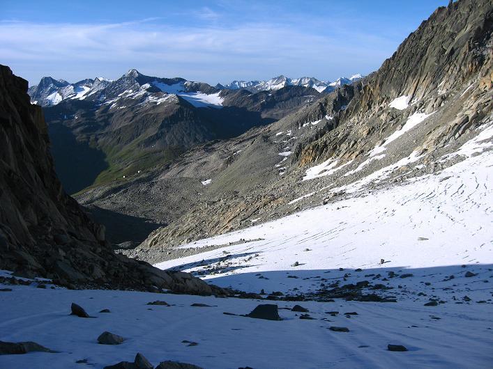 Foto: Andreas Koller / Wander Tour / Über den SO-Sporn auf den Galenstock (3586m) / Blick vom Sidelengletscher nach SW / 01.09.2007 13:20:53