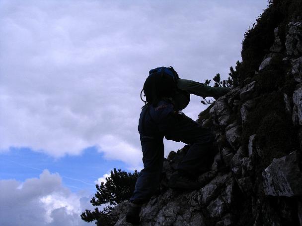 Foto: Andreas Koller / Klettersteig Tour / Wildfrauensteig von der Ardningalm (1992 m) / Ausgesetzte Stellen mit leichter Kletterei / 03.09.2007 20:09:15