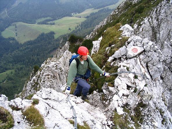 Foto: Andreas Koller / Klettersteig Tour / Wildfrauensteig von der Ardningalm (1992 m) / Immer wieder Sicherungen am ausgesetzten Grat / 03.09.2007 20:08:19