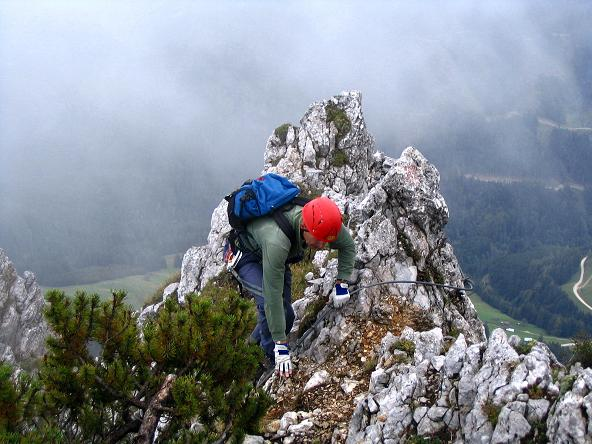 Foto: Andreas Koller / Klettersteig Tour / Wildfrauensteig von der Ardningalm (1992 m) / Leichtere gesicherte Passagen im oberen Bereich / 03.09.2007 20:07:42